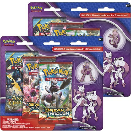Pokemon Cards Mega Evolution Mewtwo 3 Pack & Pin Collection