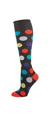 Socks Kneehigh Dots Charcoal Heather