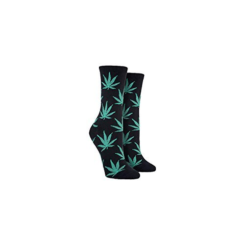 Socksmith Pot Leaves Blk Womens Ankles