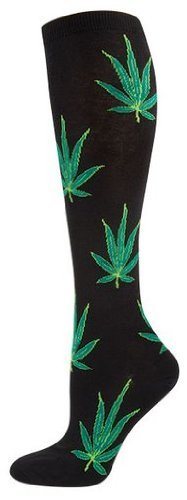 Socksmith Pot Leaves Bl Womens Kneehigh