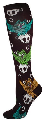 Socks Kneehigh Owl And Skull Black Green