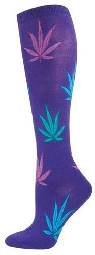 Socksmith Pot Leaves Pur Womens Kneehigh