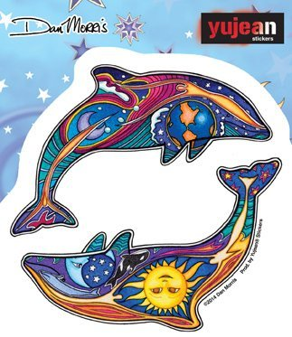 Sticker Night Day Dolphins