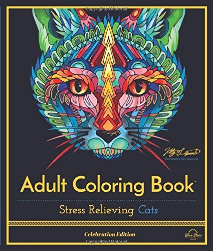 Blue Star Premier Adult Coloring Book Stress Relieving Cats Celebration Edition