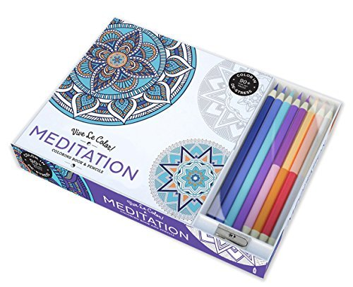 Abrams Noterie Vive Le Color! Meditation (adult Coloring Book And Color Therapy Kit [with Pens Pencils]