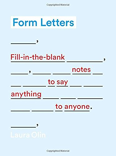 Laura Olin Form Letters Fill In The Blank Notes To Say Anything To Anyone
