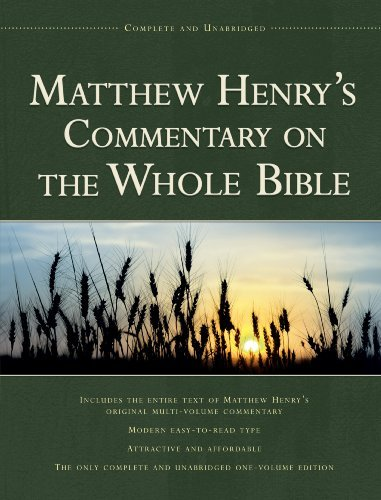 Matthew Henry Matthew Henry's Commentary On The Whole Bible Complete And Unabridged