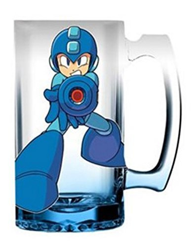 Pint Glass Mega Man 16oz Blue Gradient Glass Beer Mug