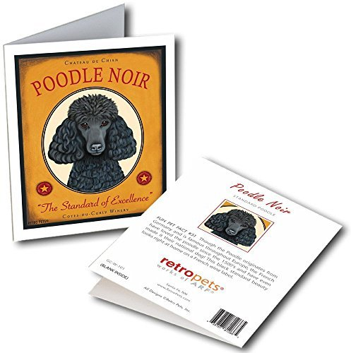 Retro Card Poodle Noir