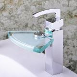 Chrome Single Handle Centerset Waterfall Bathroom