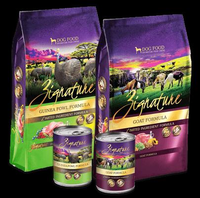 Zignature Ginuea Fowl and Goat Dog Food Forumulas