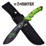 "Knife 14.75"" Blk Fxd Bld Green Handle"