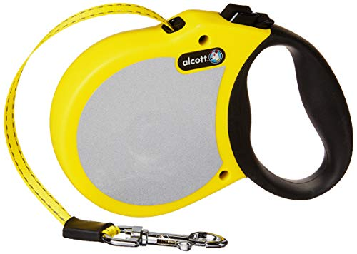 alcott-reflective-retractable-dog-leash-yellow