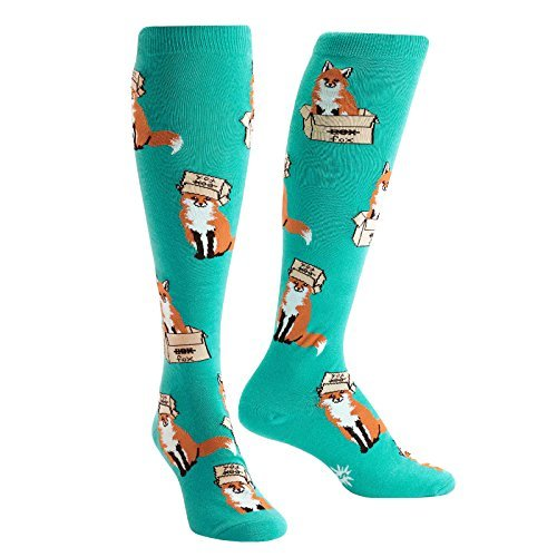 Sock It To Me Foxes In Boxes Knee High Socks