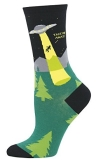 Socks Womens Crew Alien Abduction Blk