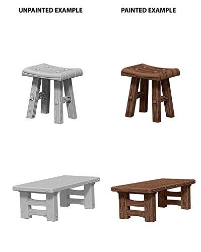Miniature Wooden Table And Stools Unpainted