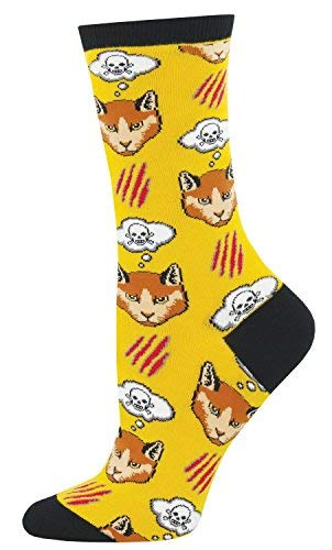 Socks Womens Crew Moody Cat
