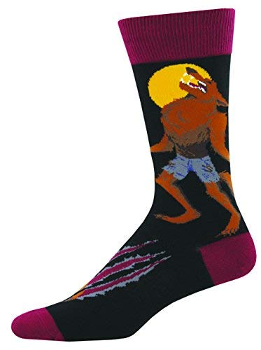 Socks Mens Crew Howling At The Moon Blk
