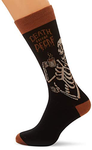 Socks Mens Crew Death Before Decaf Blk