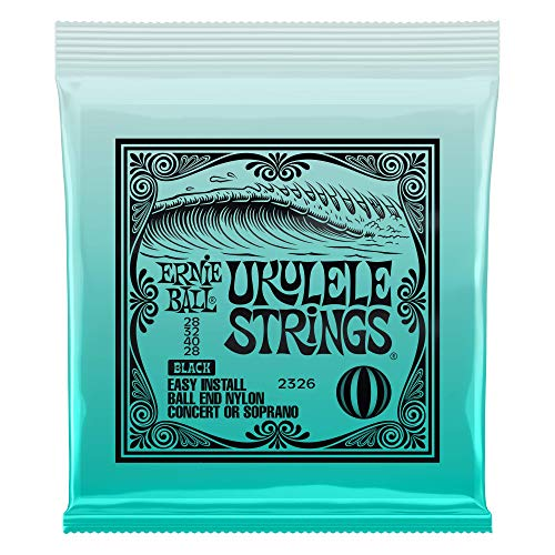 Ernie Ball Ukulele Stings Black Nylon .028 .032 .040 .028 Concert Soprano