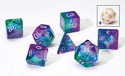 dice-set-blue-aurora-semi-transparent-resin-7pc-set-sirius-dice