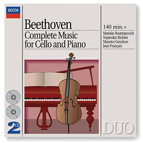 Beethoven L.V. Music For Cello & Piano Rostropovich Richter Francaix 2 CD Set
