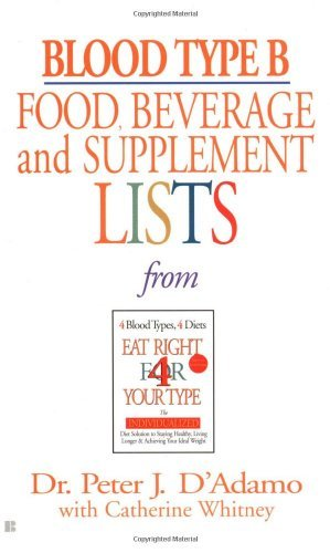 Peter J. D'adamo Blood Type B Food Beverage And Supplement Lists