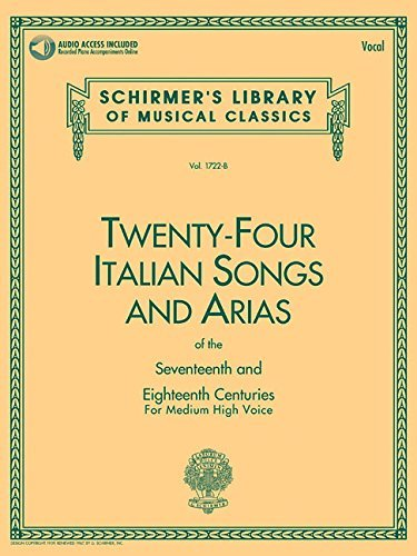Hal Leonard Corp 24 Italian Songs & Arias Of The 17th & 18th Centur Medium High Voice Book With Online Audio