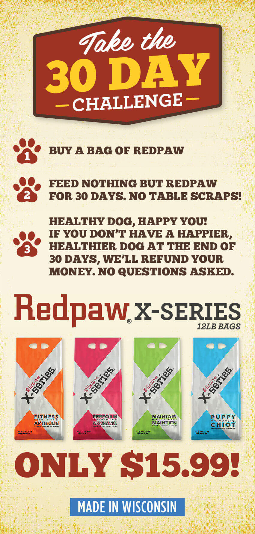 take the 30 day challenge - redpaw x-series