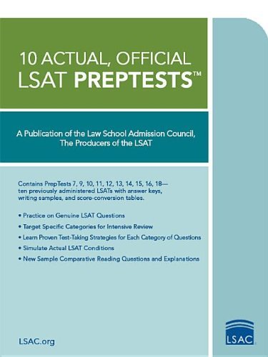 Law School Admission Council 10 Actual Official Lsat Preptests (preptests 7 9 10 11 12 13 14 15 16 18)