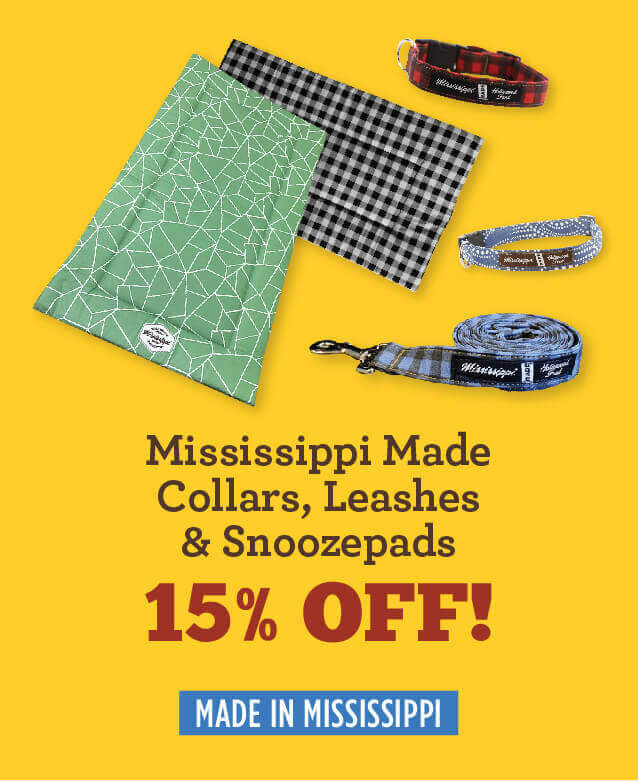 mississippi made collars, leashes, and snoozepads - fifteen percent off