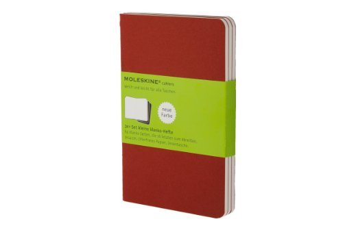 Moleskine Pocket Cahier Journals Plain Cranberry Red Set Of 3 Red