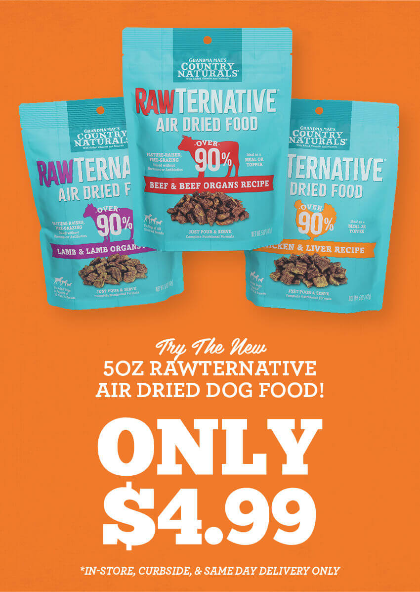5 ounce Rawternative Air Dried Dog Food is only 4 dollars and 99 cents!
