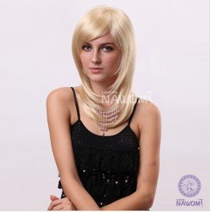 Hot Wig European Women Wig Medium Long Blonde Wig
