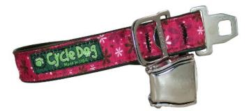 Cycle Collar Pink Retro Medium Cycle Dog Bottle Opener Recycled Dog Collar With Seatbelt Metal Buckle Hot Pink Retro Flowers Medium