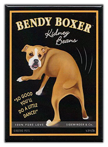 Retro Dogs Refrigerator Magnets Boxer | Kidney Beans | Vintage Advertising Art