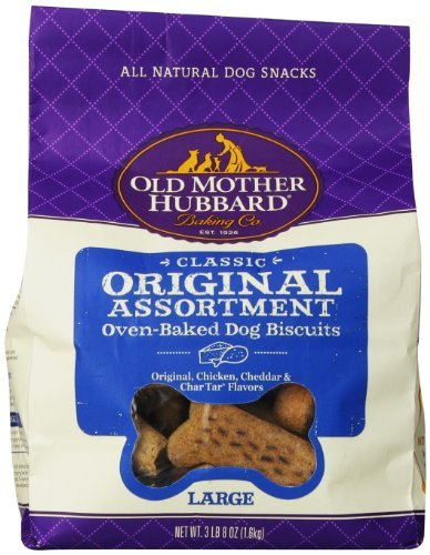Omh Biscuit Orig Asst Lg 3.8lb Old Mother Hubbard Crunchy Classic Snacks For Dogs Large Original Assortment 3 Pound And 8 Ounce Bag