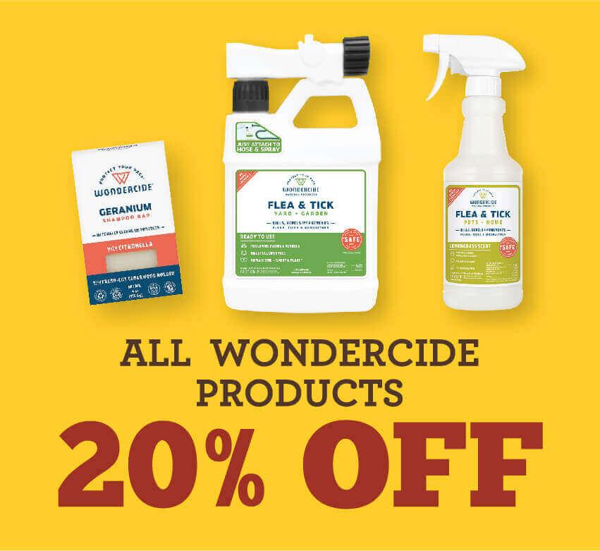 All Wondercide Products twenty percent off
