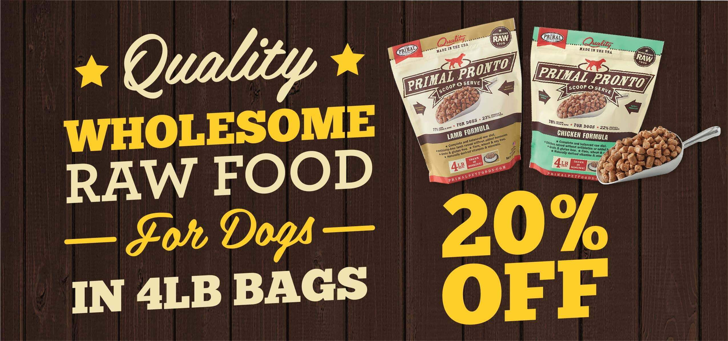 Primal Pet Food 4lb Bags - 20% Off