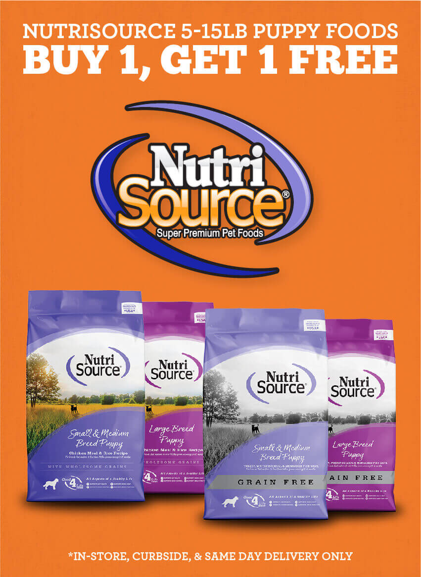 Buy one, get one free on 5 to 15lb Nutrisource puppy foods. In-store, curbside, and Saem Day Delivery Only.
