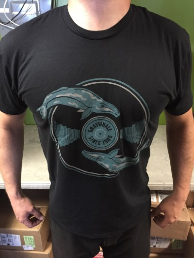 Graywhale T Shirt Whale & Record Black Large Black Large