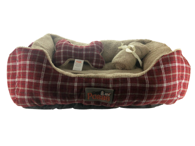 pet-posse-dog-bed-3-piece-set-bed-blanket-pillow-red-plaid