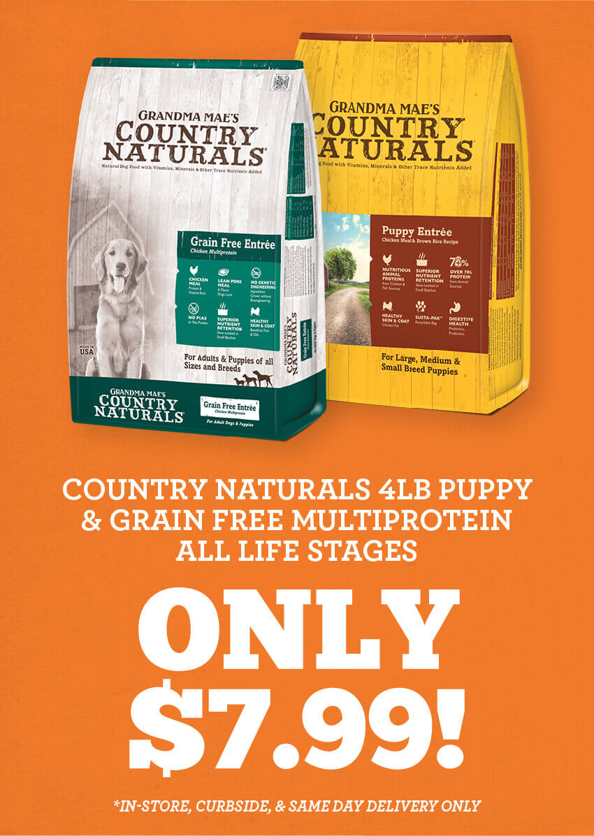 Country Naturals 4 pound puppy and Grain Free Mulitprotein all life stages formulas, only 7 dollars and 99 cents!
