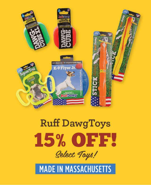 ruff dog toys - fifteen percent off