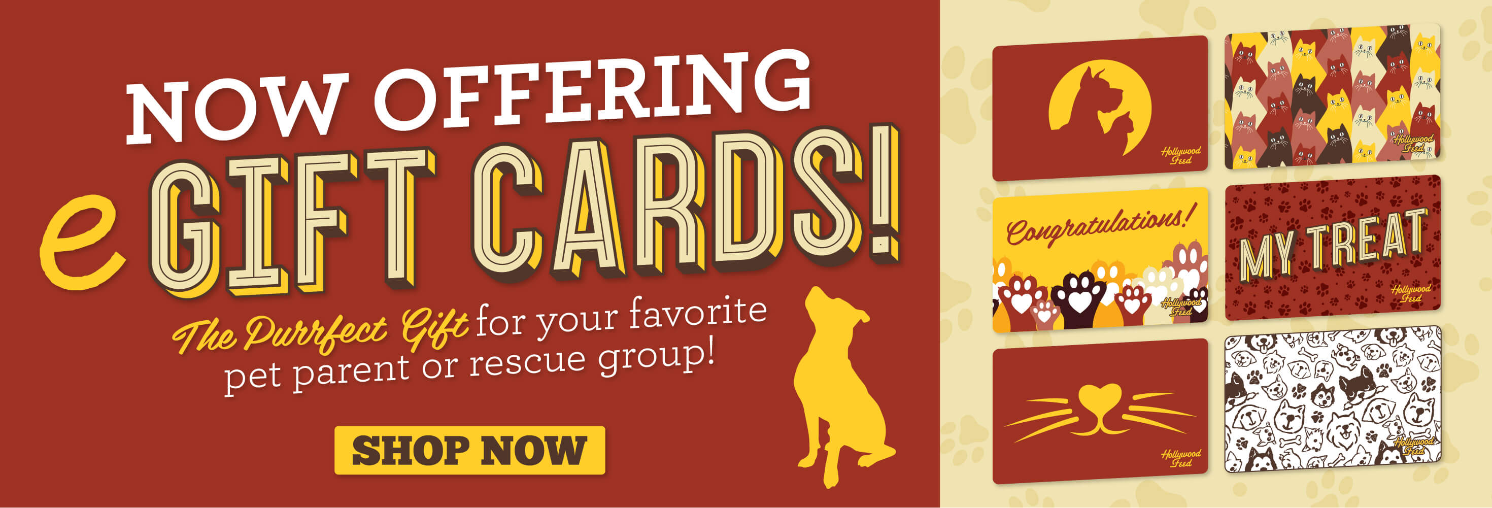 Now offering egift cards, the purrfect gift for your favorite pet parent or rescue group, link to shop now, picture of different egift card designs